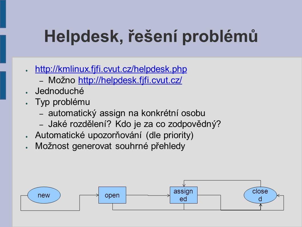 Helpdesk, řešení problémů ● http://kmlinux.fjfi.cvut.cz/helpdesk.php http://kmlinux.fjfi.cvut.cz/helpdesk.php – Možno http://helpdesk.fjfi.cvut.cz/http://helpdesk.fjfi.cvut.cz/ ● Jednoduché ● Typ problému – automatický assign na konkrétní osobu – Jaké rozdělení.