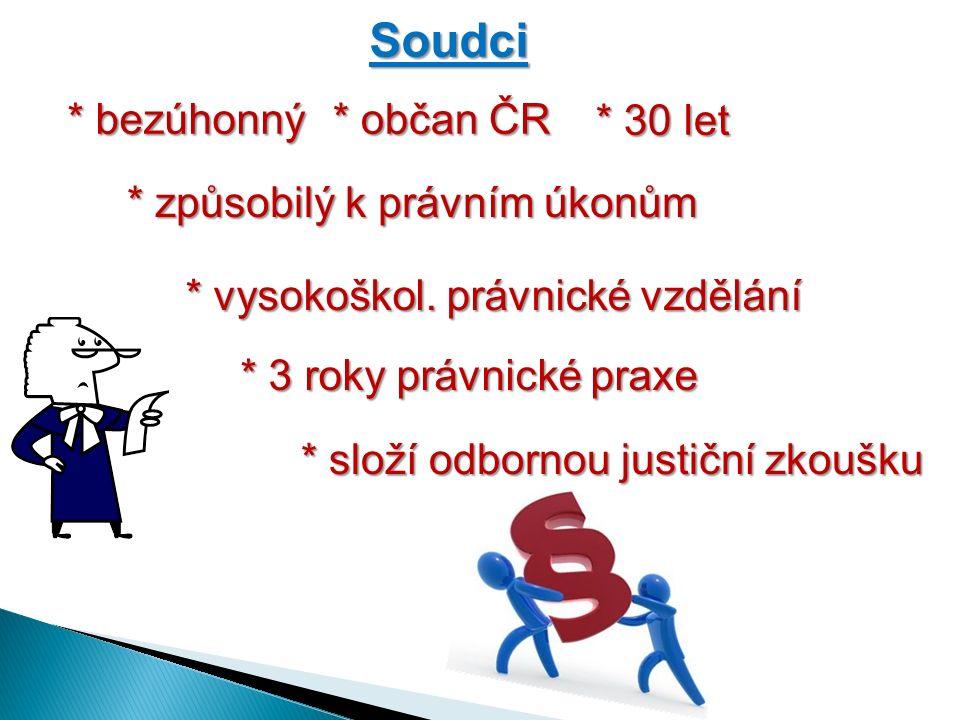 Soudci * bezúhonný * občan ČR * způsobilý k právním úkonům * 30 let * vysokoškol.