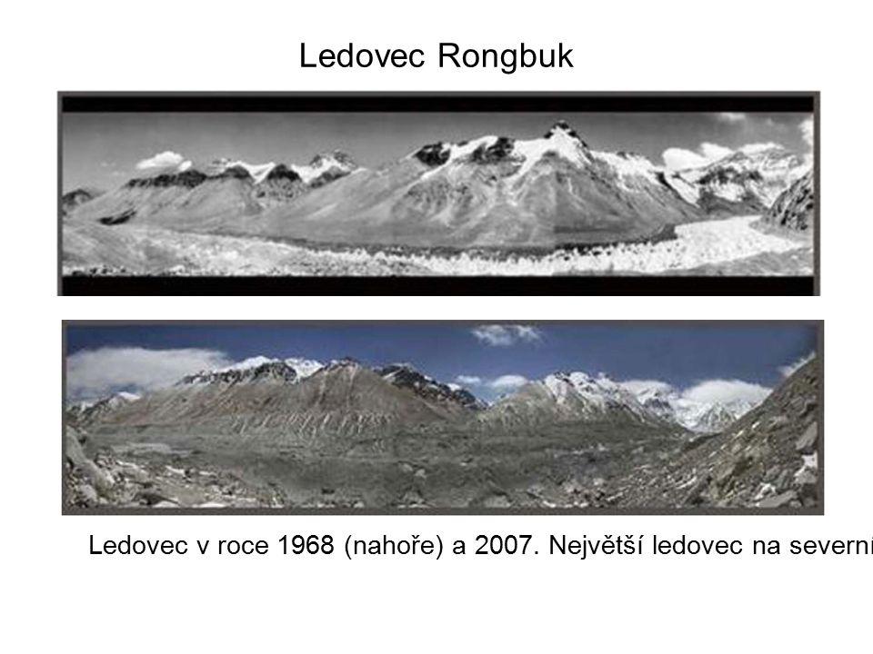Ledovec Rongbuk Ledovec v roce 1968 (nahoře) a 2007.