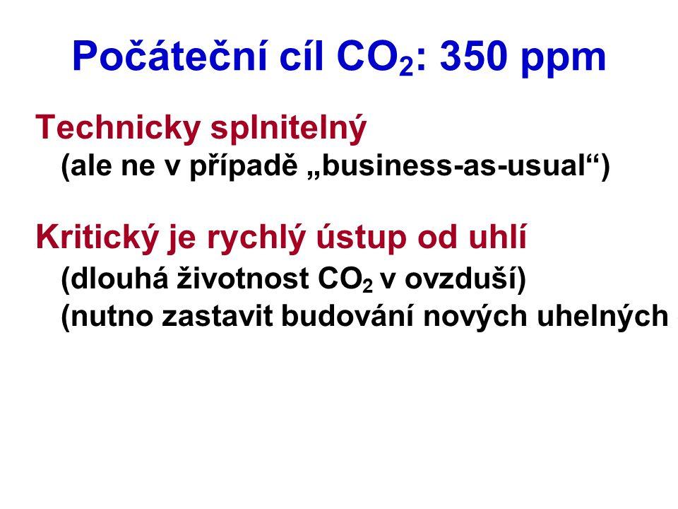 """Počáteční cíl CO 2 : 350 ppm Technicky splnitelný (ale ne v případě """"business-as-usual ) Kritický je rychlý ústup od uhlí (dlouhá životnost CO 2 v ovzduší) (nutno zastavit budování nových uhelných elektráren, které CO 2 nezachycují a neukládají)"""