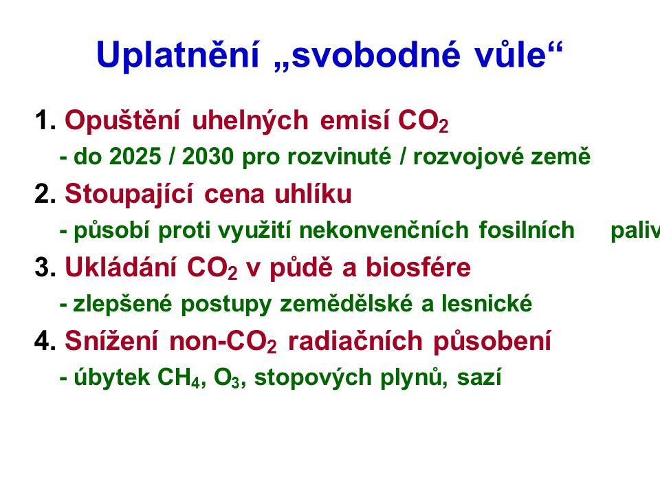"""Uplatnění """"svobodné vůle"""" 1. Opuštění uhelných emisí CO 2 - do 2025 / 2030 pro rozvinuté / rozvojové země 2. Stoupající cena uhlíku - působí proti vyu"""