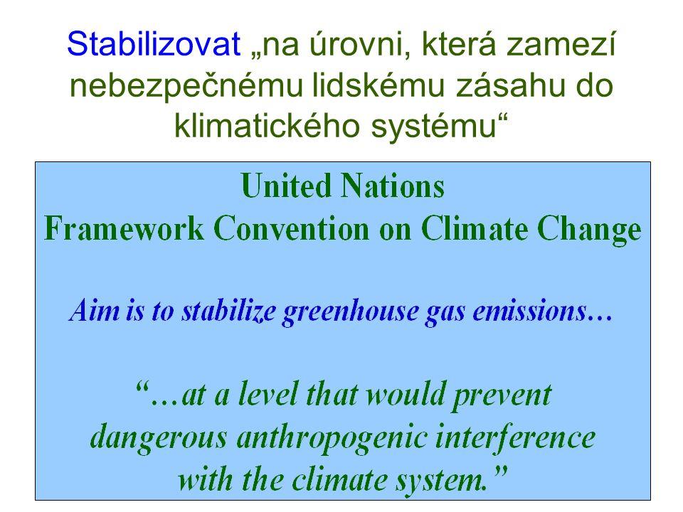 """Stabilizovat """"na úrovni, která zamezí nebezpečnému lidskému zásahu do klimatického systému"""