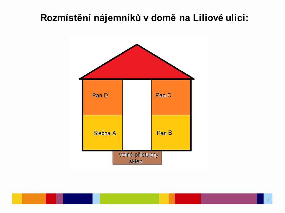 3 Rozmístění nájemníků v domě na Liliové ulici: 3