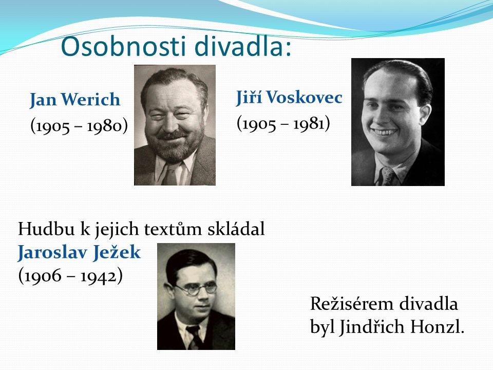 Osobnosti divadla: Jan Werich (1905 – 1980) Jiří Voskovec (1905 – 1981) Hudbu k jejich textům skládal Jaroslav Ježek (1906 – 1942) Režisérem divadla byl Jindřich Honzl.