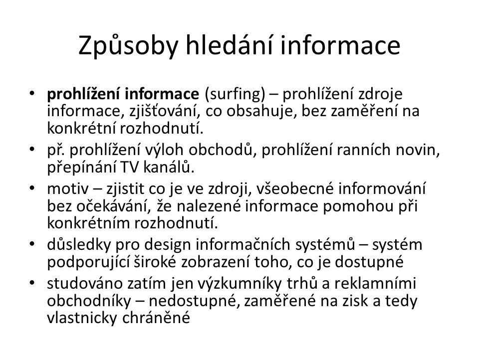 Způsoby hledání informace prohlížení informace (surfing) – prohlížení zdroje informace, zjišťování, co obsahuje, bez zaměření na konkrétní rozhodnutí.