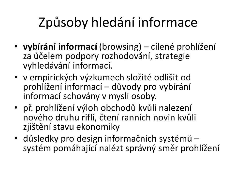Způsoby hledání informace vybírání informací (browsing) – cílené prohlížení za účelem podpory rozhodování, strategie vyhledávání informací. v empirick