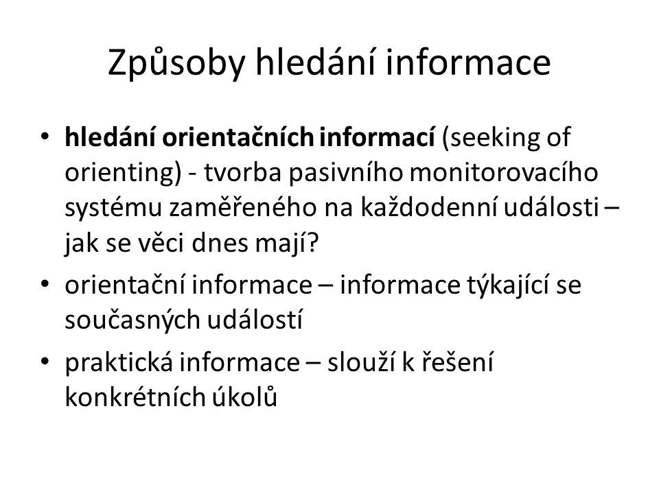 Způsoby hledání informace hledání orientačních informací (seeking of orienting) - tvorba pasivního monitorovacího systému zaměřeného na každodenní udá
