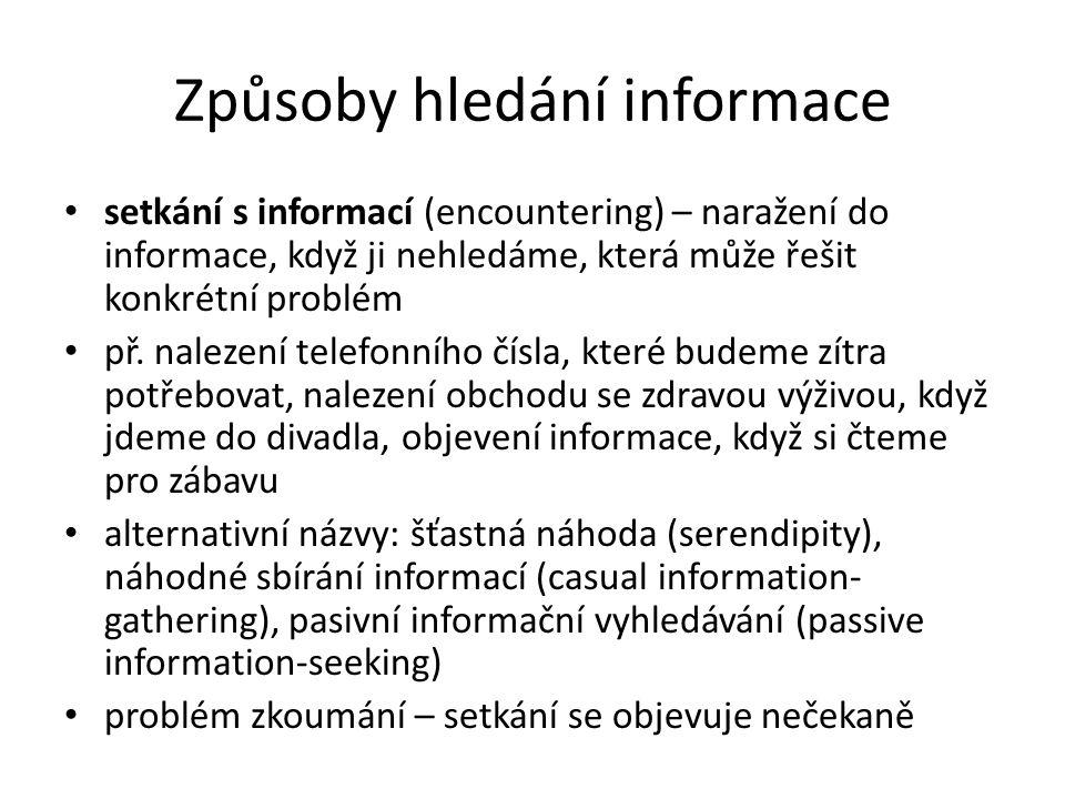 Způsoby hledání informace setkání s informací (encountering) – naražení do informace, když ji nehledáme, která může řešit konkrétní problém př. naleze