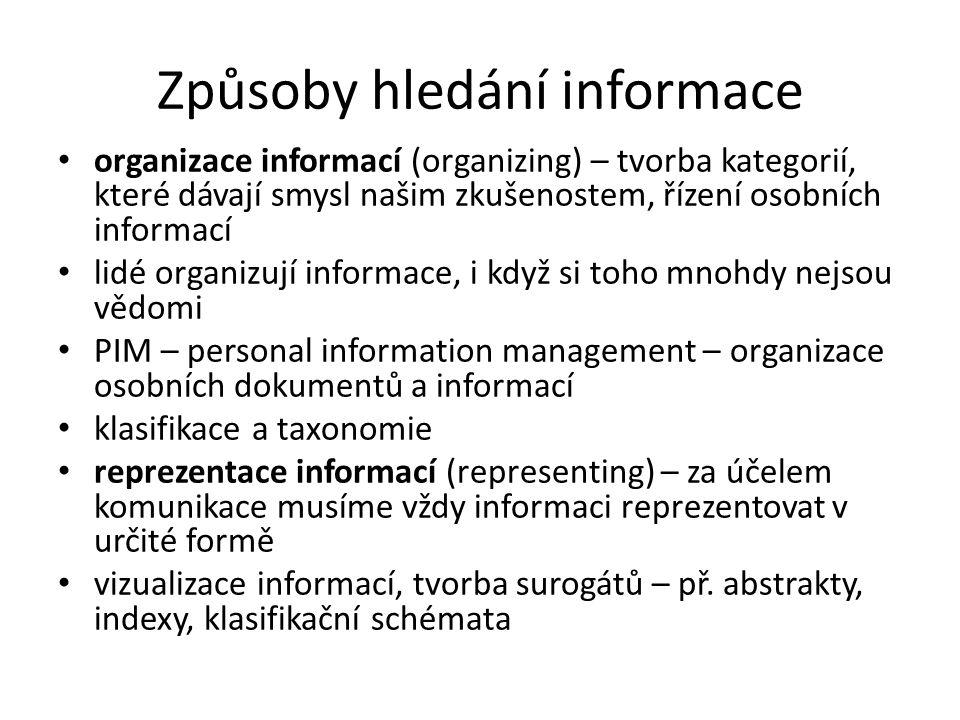 Způsoby hledání informace organizace informací (organizing) – tvorba kategorií, které dávají smysl našim zkušenostem, řízení osobních informací lidé o