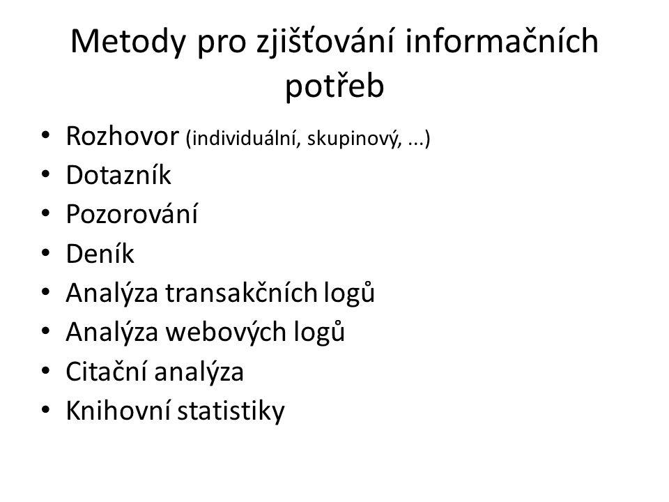 Metody pro zjišťování informačních potřeb Rozhovor (individuální, skupinový,...) Dotazník Pozorování Deník Analýza transakčních logů Analýza webových