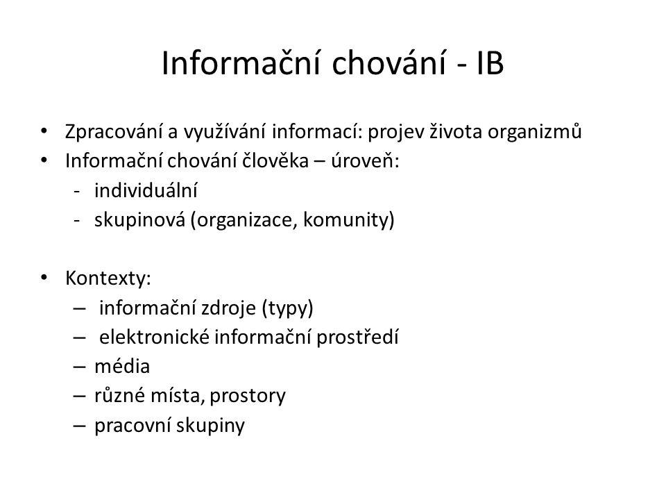 Informační chování - IB Zpracování a využívání informací: projev života organizmů Informační chování člověka – úroveň: -individuální -skupinová (organ