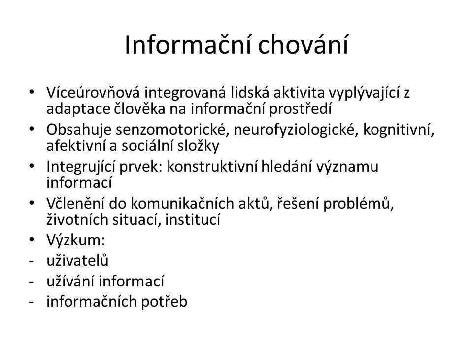 Trojvrstevný model IB Ložiskový model (Wilson, 1999) Informační chování Chování při vyhledávání inf.