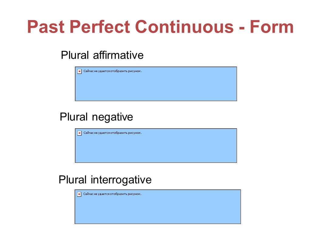 Past Perfect Continuous - Form Plural affirmative Plural negative Plural interrogative
