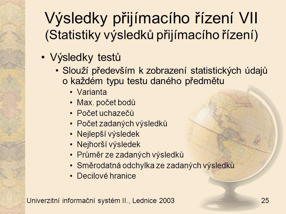 25 Univerzitní informační systém II., Lednice 2003 Výsledky přijímacího řízení VII (Statistiky výsledků přijímacího řízení) Výsledky testů Slouží především k zobrazení statistických údajů o každém typu testu daného předmětu Varianta Max.