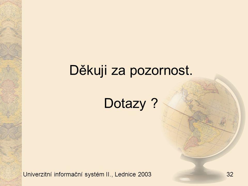 32 Univerzitní informační systém II., Lednice 2003 Děkuji za pozornost. Dotazy