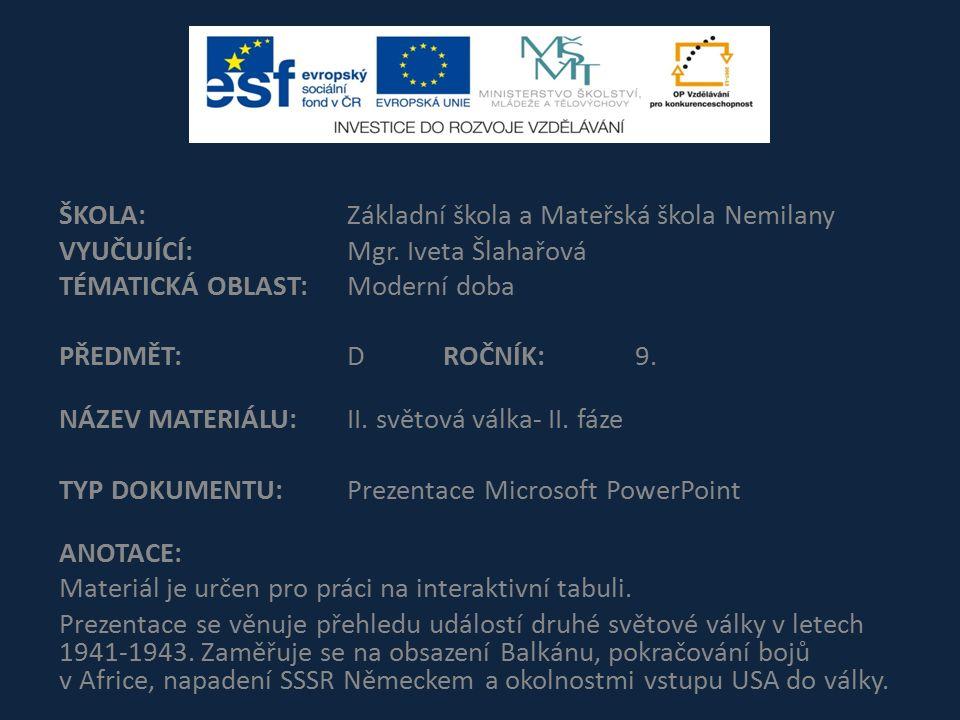 ŠKOLA:Základní škola a Mateřská škola Nemilany VYUČUJÍCÍ:Mgr.