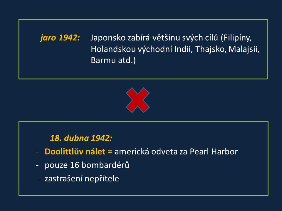 jaro 1942: Japonsko zabírá většinu svých cílů (Filipíny, Holandskou východní Indii, Thajsko, Malajsii, Barmu atd.) 18.