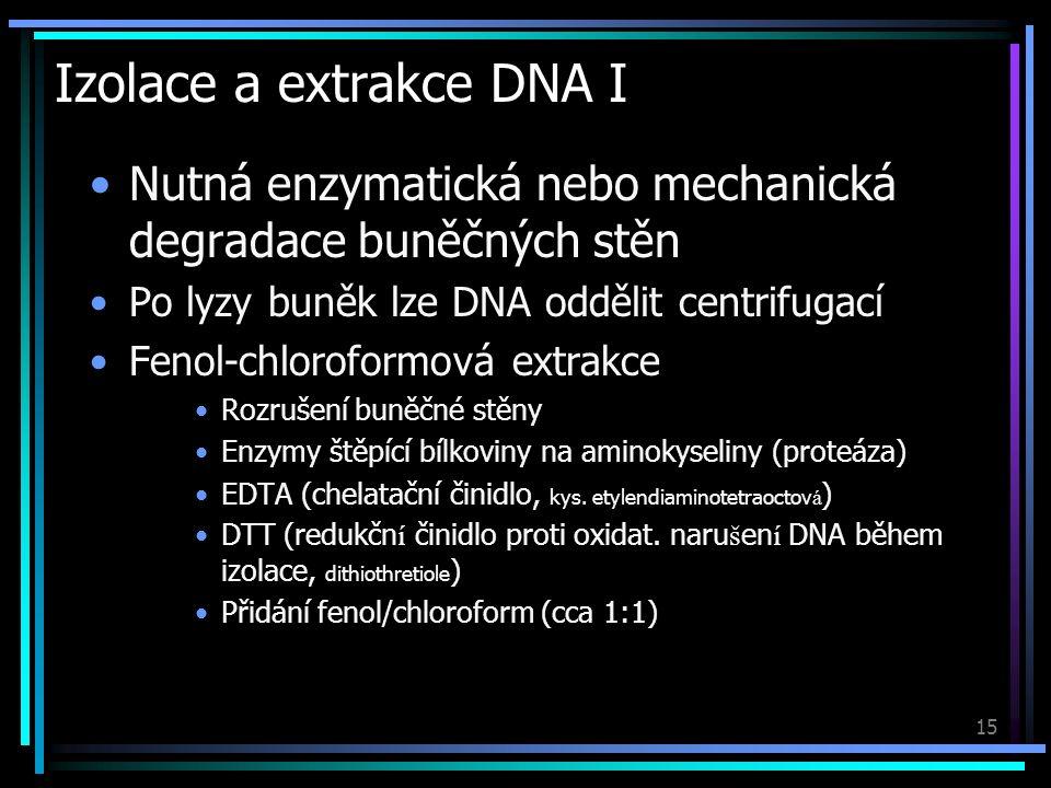 15 Izolace a extrakce DNA I Nutná enzymatická nebo mechanická degradace buněčných stěn Po lyzy buněk lze DNA oddělit centrifugací Fenol-chloroformová extrakce Rozrušení buněčné stěny Enzymy štěpící bílkoviny na aminokyseliny (proteáza) EDTA (chelatační činidlo, kys.