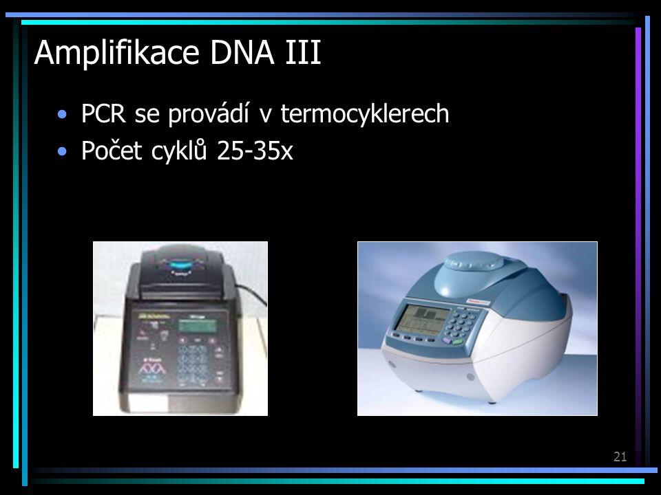 21 Amplifikace DNA III PCR se provádí v termocyklerech Počet cyklů 25-35x