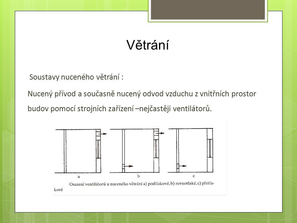 Větrání Soustavy nuceného větrání : Nucený přívod a současně nucený odvod vzduchu z vnitřních prostor budov pomocí strojních zařízení –nejčastěji ventilátorů.