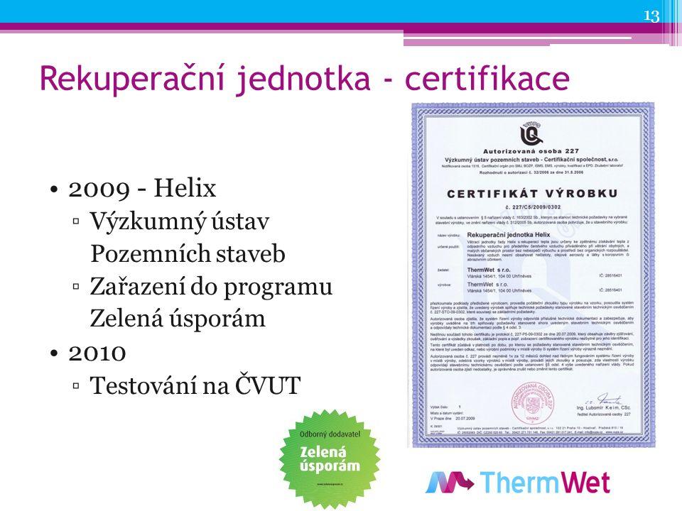 Rekuperační jednotka - certifikace 2009 - Helix ▫Výzkumný ústav Pozemních staveb ▫Zařazení do programu Zelená úsporám 2010 ▫Testování na ČVUT 13