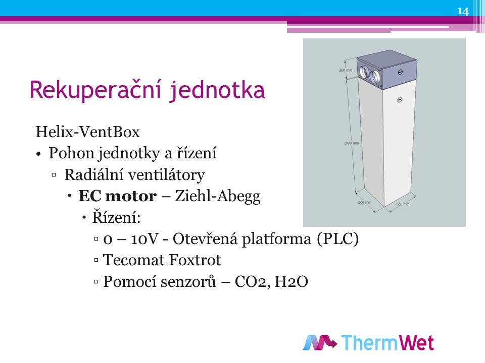 Rekuperační jednotka Helix-VentBox Pohon jednotky a řízení ▫Radiální ventilátory  EC motor – Ziehl-Abegg  Řízení: ▫0 – 10V - Otevřená platforma (PLC) ▫Tecomat Foxtrot ▫Pomocí senzorů – CO2, H2O 14