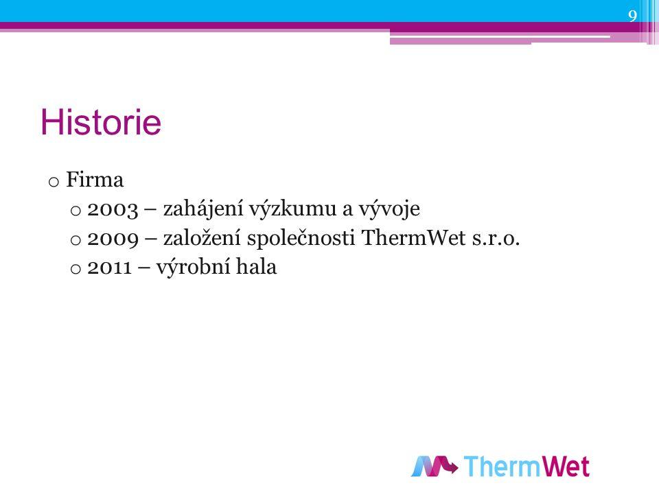 Historie o Firma o 2003 – zahájení výzkumu a vývoje o 2009 – založení společnosti ThermWet s.r.o.