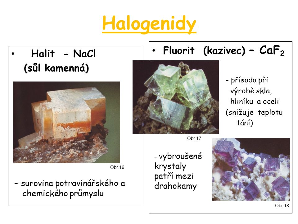 Halogenidy Halit - NaCl (sůl kamenná) - surovina potravinářského a chemického průmyslu Fluorit (kazivec) – CaF 2 » - přísada při » výrobě skla, » hliníku a oceli » (snižuje teplotu » tání) - v ybroušené krystaly patří mezi drahokamy Obr.16 Obr.17 Obr.18