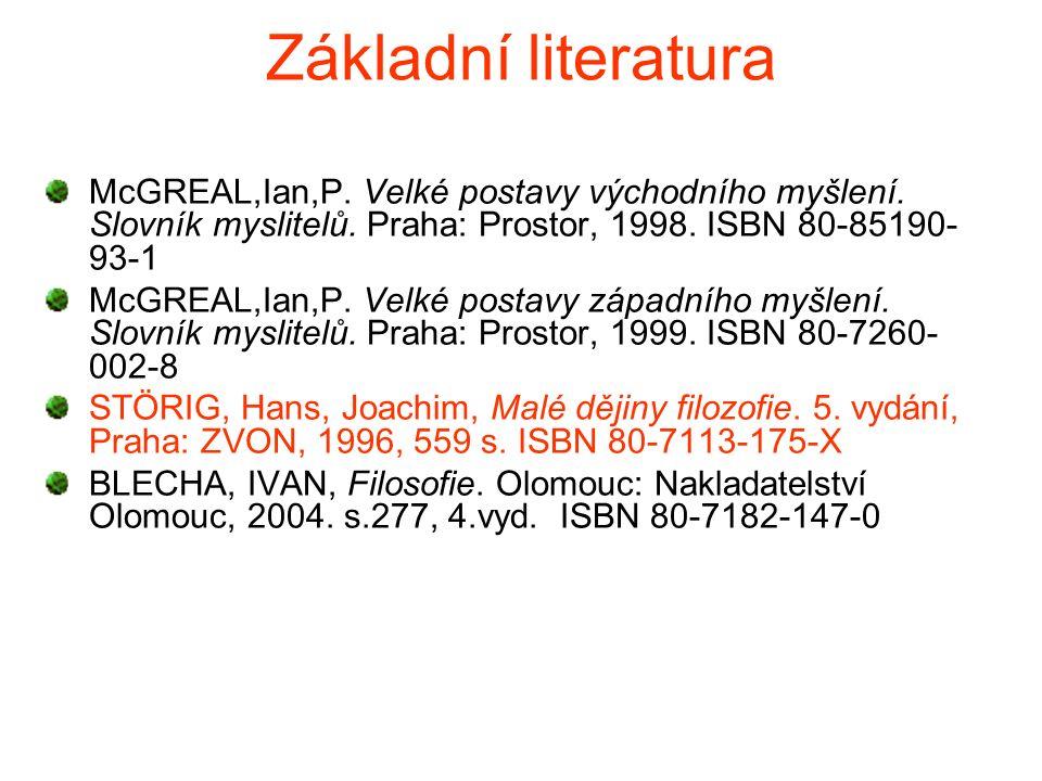 Základní literatura McGREAL,Ian,P. Velké postavy východního myšlení.