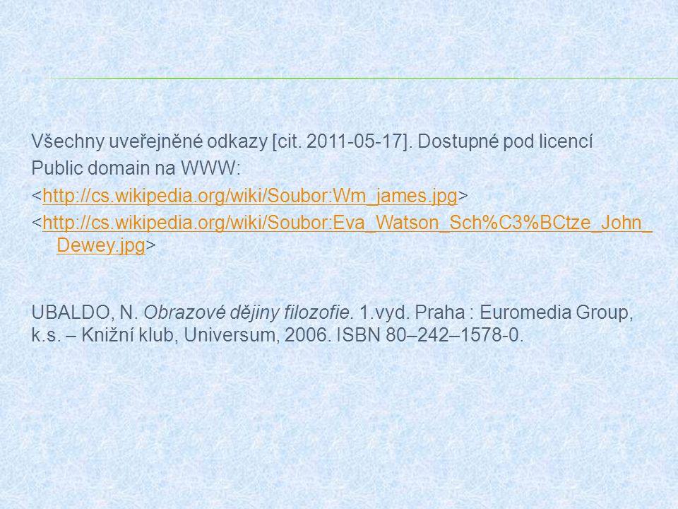 Všechny uveřejněné odkazy [cit. 2011-05-17]. Dostupné pod licencí Public domain na WWW: http://cs.wikipedia.org/wiki/Soubor:Wm_james.jpg http://cs.wik
