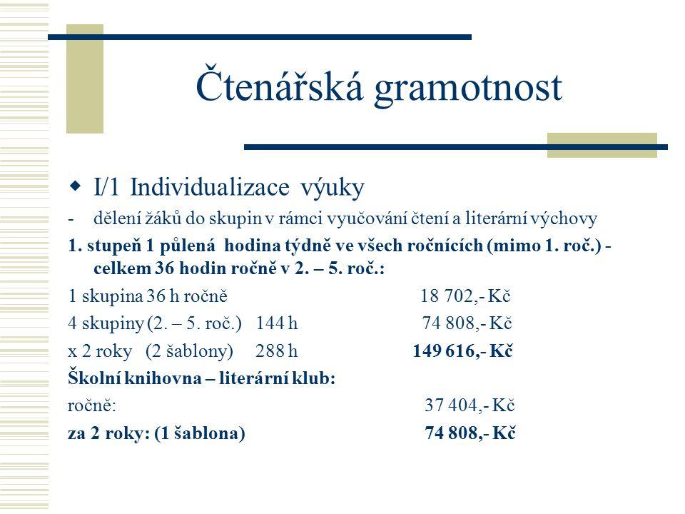 Čtenářská gramotnost  I/1 Individualizace výuky -dělení žáků do skupin v rámci vyučování čtení a literární výchovy 1.