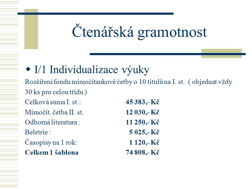 Čtenářská gramotnost  I/1 Individualizace výuky Rozšíření fondu mimočítankové četby o 10 titulů na I.