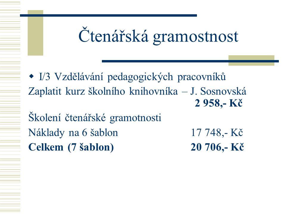 Čtenářská gramostnost  I/3 Vzdělávání pedagogických pracovníků Zaplatit kurz školního knihovníka – J.