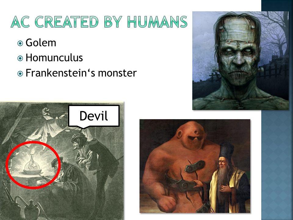 Devil  Golem  Homunculus  Frankenstein's monster