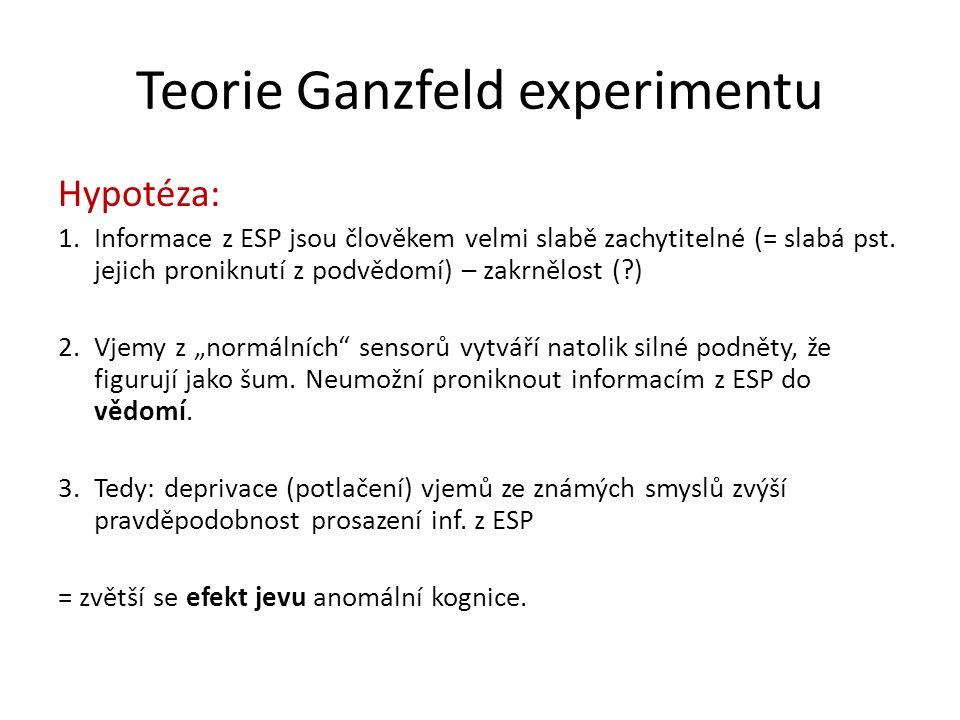 Teorie Ganzfeld experimentu Hypotéza: 1.Informace z ESP jsou člověkem velmi slabě zachytitelné (= slabá pst. jejich proniknutí z podvědomí) – zakrnělo