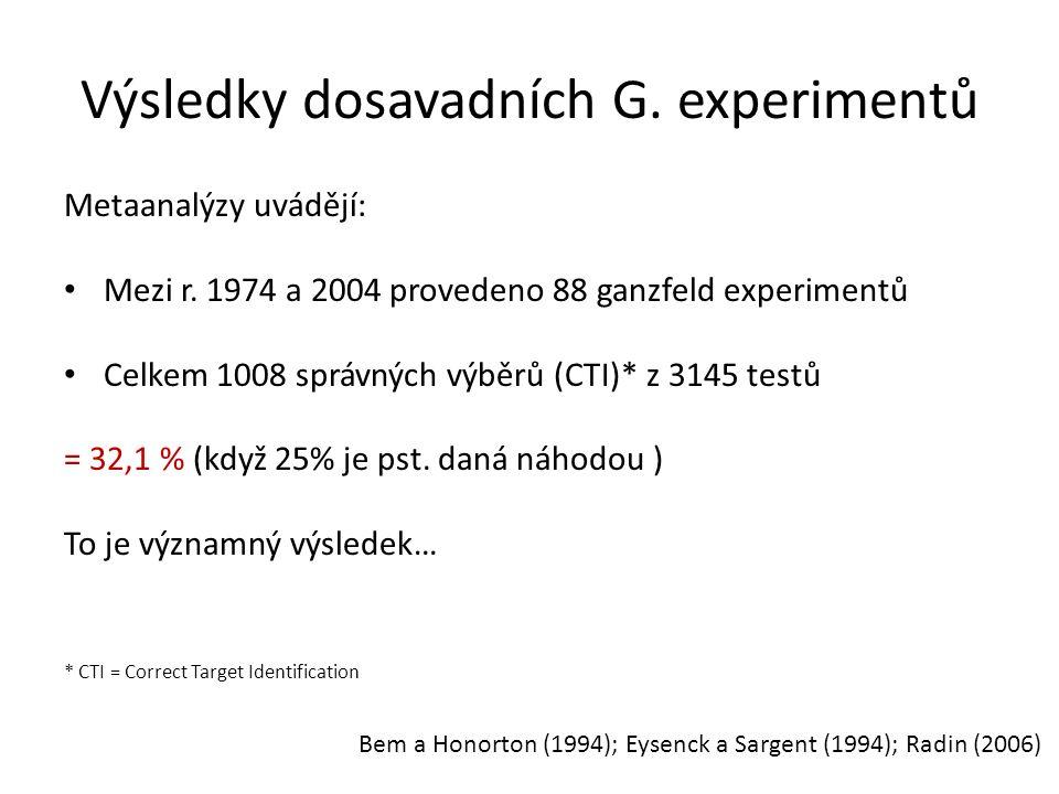 Výsledky dosavadních G. experimentů Metaanalýzy uvádějí: Mezi r. 1974 a 2004 provedeno 88 ganzfeld experimentů Celkem 1008 správných výběrů (CTI)* z 3