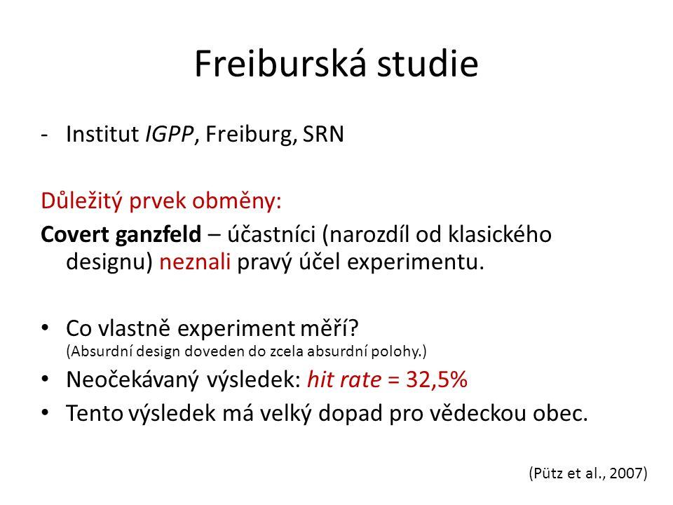 Freiburská studie -Institut IGPP, Freiburg, SRN Důležitý prvek obměny: Covert ganzfeld – účastníci (narozdíl od klasického designu) neznali pravý účel