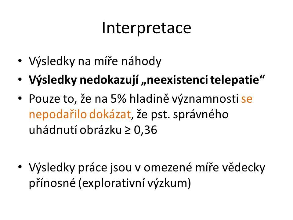 """Interpretace Výsledky na míře náhody Výsledky nedokazují """"neexistenci telepatie"""" Pouze to, že na 5% hladině významnosti se nepodařilo dokázat, že pst."""