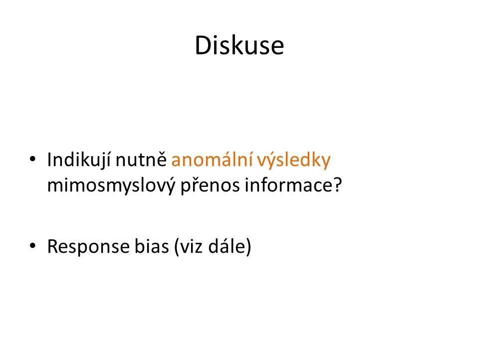Diskuse Indikují nutně anomální výsledky mimosmyslový přenos informace? Response bias (viz dále)