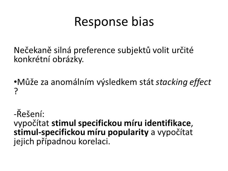 Response bias Nečekaně silná preference subjektů volit určité konkrétní obrázky. Může za anomálním výsledkem stát stacking effect ? -Řešení: vypočítat