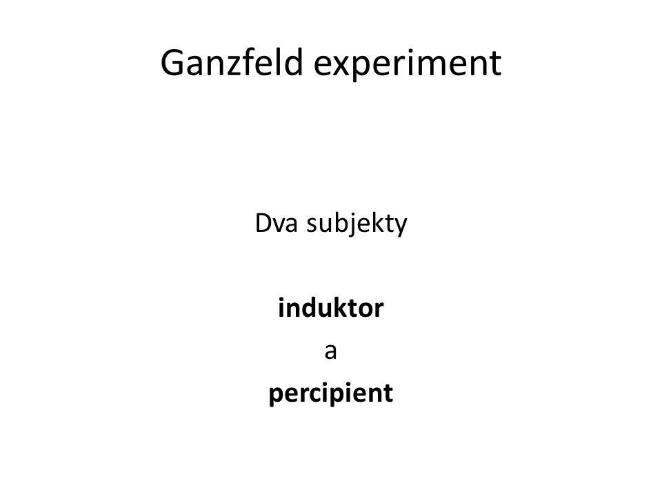 Ganzfeld experiment Dva subjekty induktor a percipient