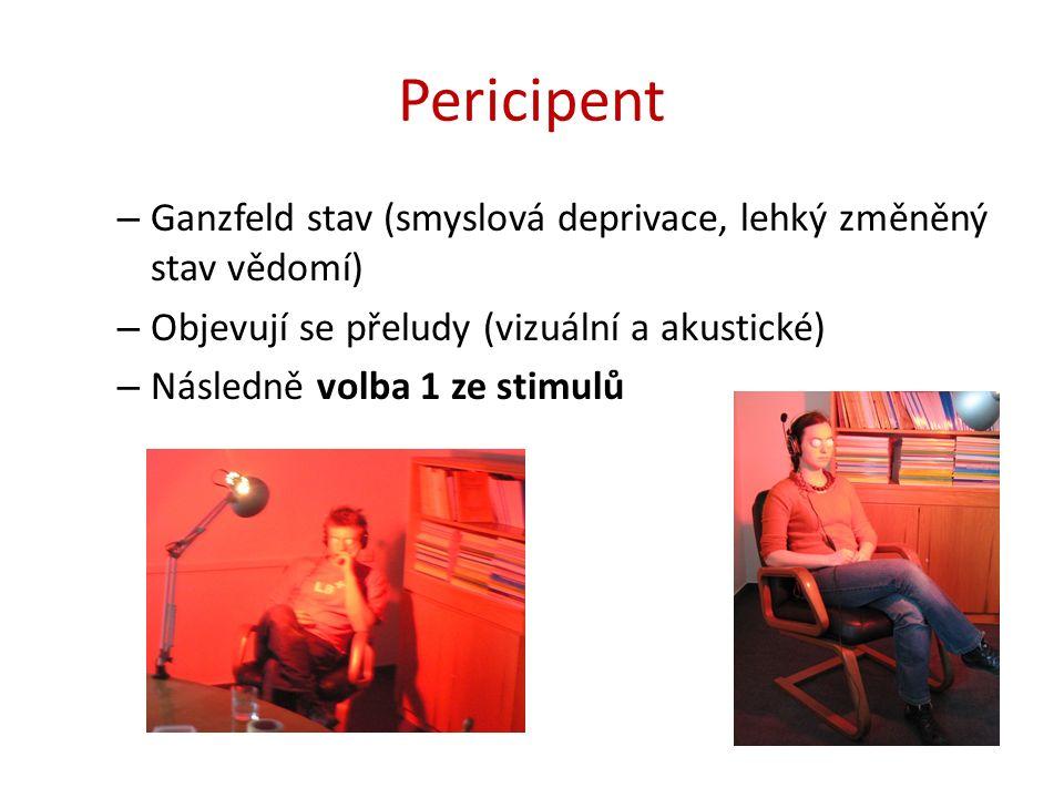 Pericipent – Ganzfeld stav (smyslová deprivace, lehký změněný stav vědomí) – Objevují se přeludy (vizuální a akustické) – Následně volba 1 ze stimulů