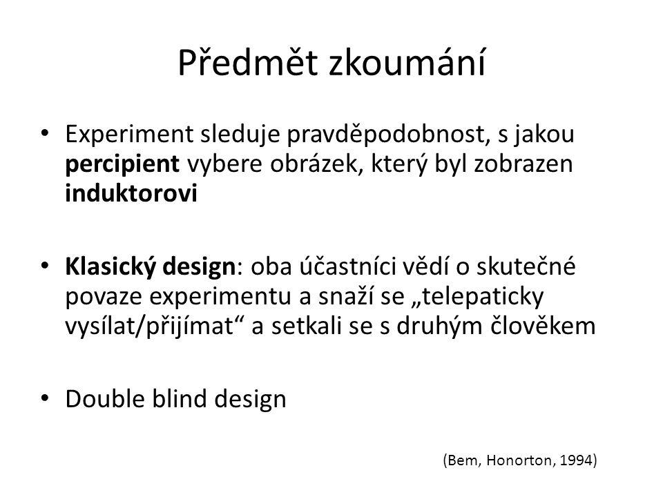 Předmět zkoumání Experiment sleduje pravděpodobnost, s jakou percipient vybere obrázek, který byl zobrazen induktorovi Klasický design: oba účastníci