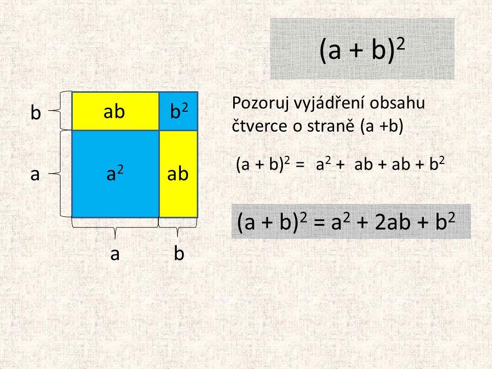 (a + b) 2 a a b b Pozoruj vyjádření obsahu čtverce o straně (a +b) (a + b) 2 = a2a2 b2b2 ab a 2 + ab + ab + b 2 (a + b) 2 = a 2 + 2ab + b 2