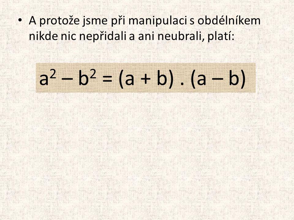 A protože jsme při manipulaci s obdélníkem nikde nic nepřidali a ani neubrali, platí: a 2 – b 2 = (a + b).