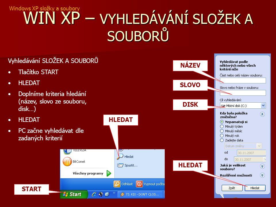 WIN XP – VYHLEDÁVÁNÍ SLOŽEK A SOUBORŮ Vyhledávání SLOŽEK A SOUBORŮ Tlačítko START HLEDAT Doplníme kriteria hledání (název, slovo ze souboru, disk…) HLEDAT PC začne vyhledávat dle zadaných kriterií START HLEDAT NÁZEV SLOVO HLEDAT DISK Windows XP složky a soubory