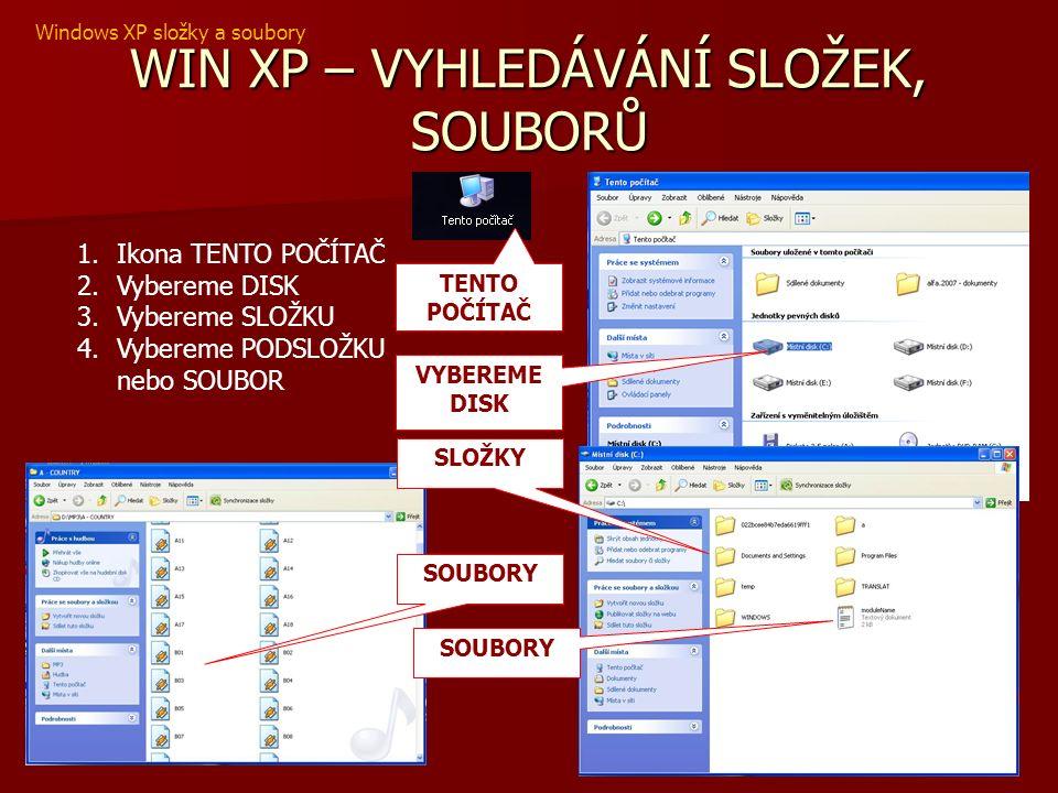 WIN XP – VYHLEDÁVÁNÍ SLOŽEK, SOUBORŮ 1.Ikona TENTO POČÍTAČ 2.Vybereme DISK 3.Vybereme SLOŽKU 4.Vybereme PODSLOŽKU nebo SOUBOR VYBEREME DISK TENTO POČÍTAČ SOUBORY SLOŽKY SOUBORY Windows XP složky a soubory