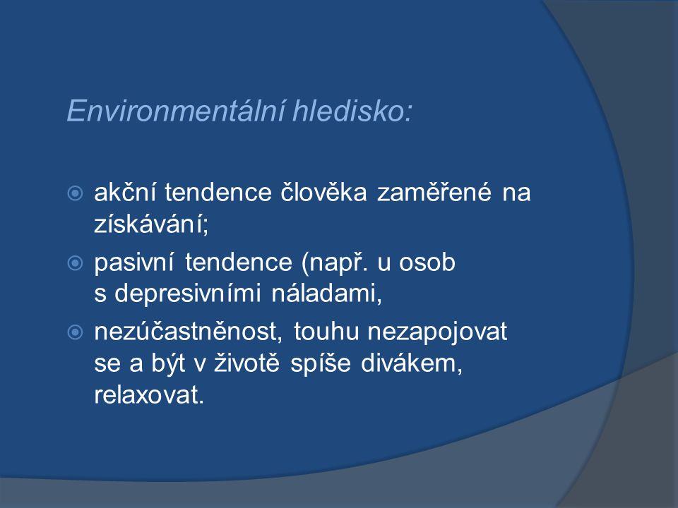 Environmentální hledisko:  akční tendence člověka zaměřené na získávání;  pasivní tendence (např. u osob s depresivními náladami,  nezúčastněnost,