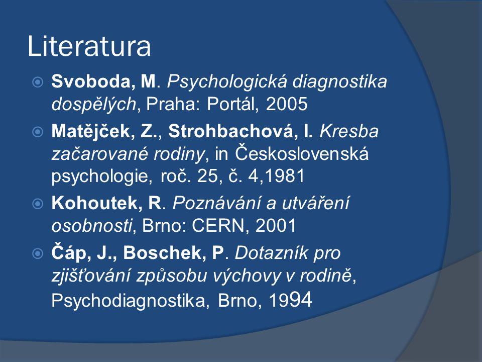 Literatura  Svoboda, M. Psychologická diagnostika dospělých, Praha: Portál, 2005  Matějček, Z., Strohbachová, I. Kresba začarované rodiny, in Českos