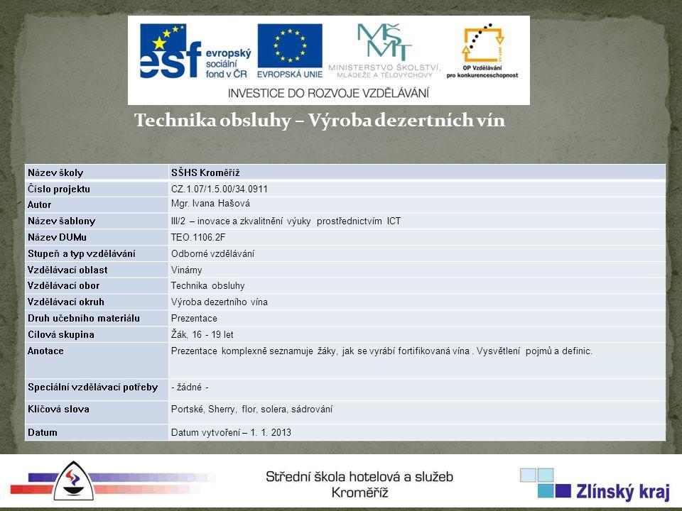 Technika obsluhy – Výroba dezertních vín Název školySŠHS Kroměříž Číslo projektuCZ.1.07/1.5.00/34.0911 Autor Mgr.